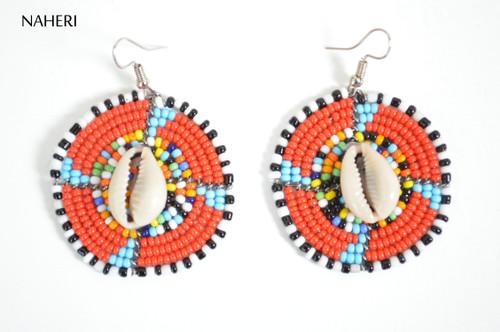 African zulu maasai earrings with cowrie shell African jewelry