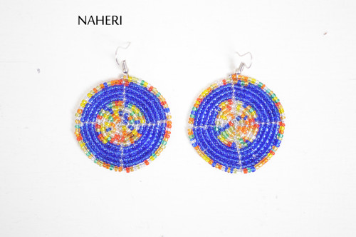 African handmade earrings beaded royal blue jewelry