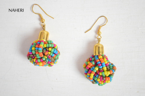 African beaded knot tie earrings multicolored African tribal jewelry