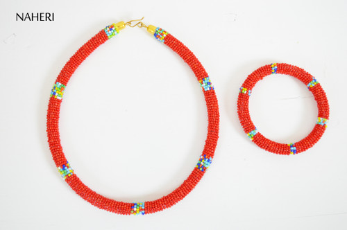 African tribal necklace red jewelry with bracelet