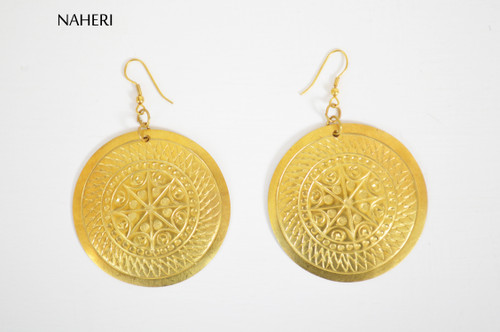 Round engraved brass earrings African inspired jewelry