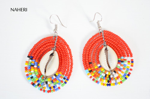 African jewelry beaded round earrings red with cowrie shell naheri