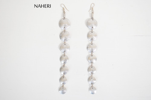 African metal jewelry long handmade naheri aluminum earrings silver