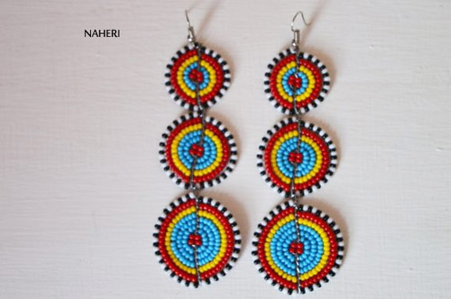 African beaded 3 tiered earrings multicolored jewelry