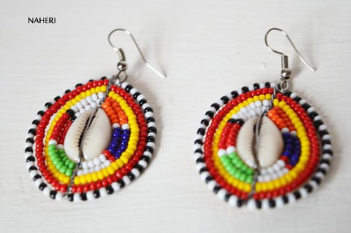 African maasai beaded earrings round jewelry with cowrie shell
