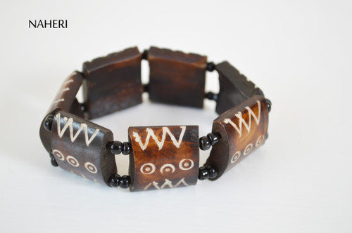African tribal engraved bone bracelet elastic jewelry naheri