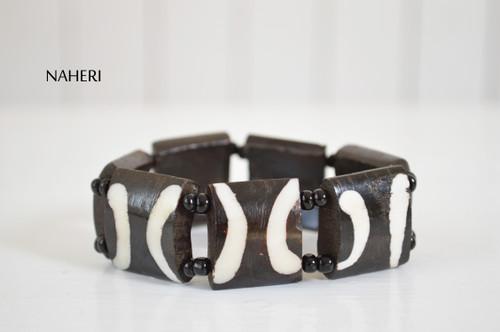 African tribal bracelet beaded bone engraved elastic jewelry