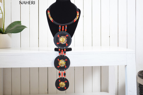 African beaded necklace tiered maasai tribal zulu jewelry naheri