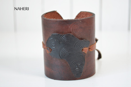 African map handmade leather bracelet tribal jewelry naheri