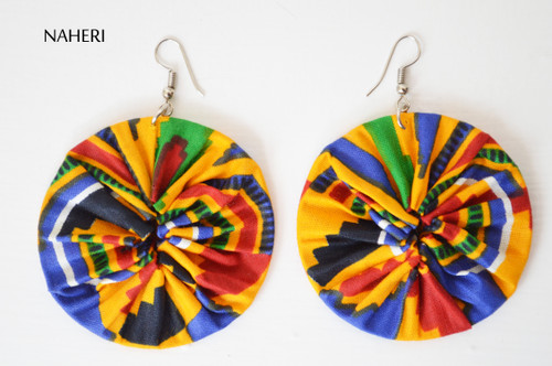African print kente fabric earrings round multicolored naheri ankara jewelry
