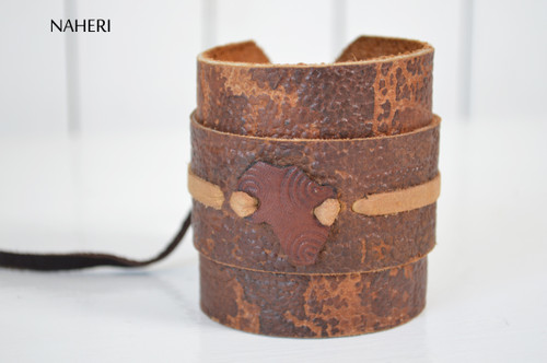 African tribal leather bracelet handmade map tribal jewelry naheri