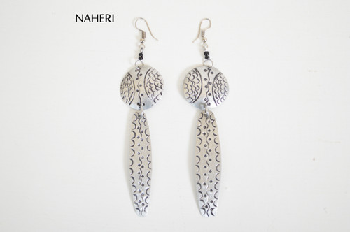 African inspired metal jewelry engraved tribal earrings naheri jewelry