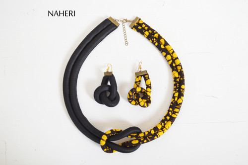 African print rope necklace and earrings set tribal handmade jewelry naheri batik