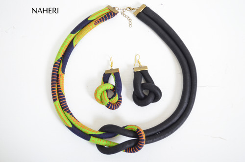 African fabric rope necklace and earrings set tribal print jewelry naheri