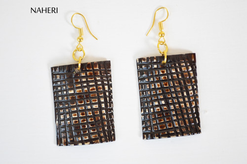 African inspired engraved horn earrings naheri jewelry
