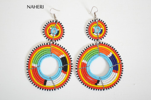 African beaded maasai earrings multicolored jewelry naheri handmade