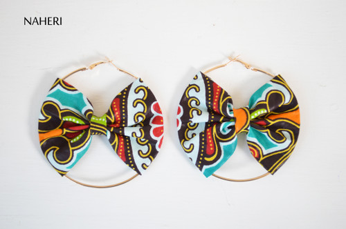 African print bow earrings handmade tribal fashion jewelry naheri