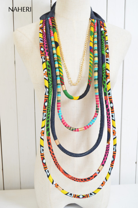 African print rope necklace tribal jewelry