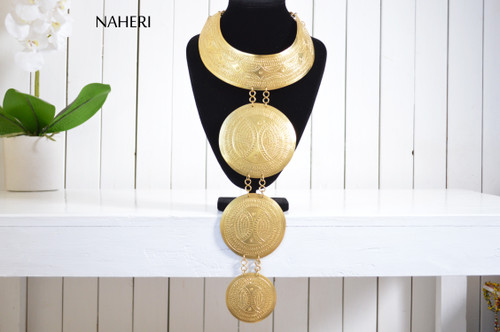 African brass necklace tribal tiered wakanda