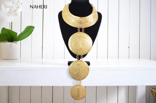 African brass necklace tribal tiered wakanda