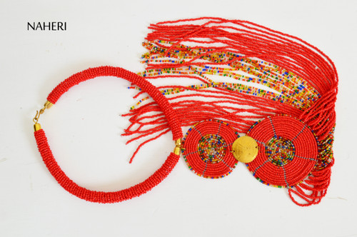 African beaded red necklace with brass decorations