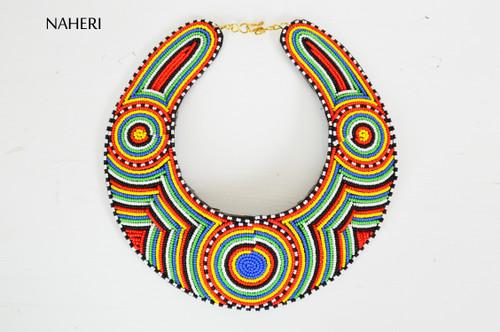 African bib necklace handmade collar tribal multicolored