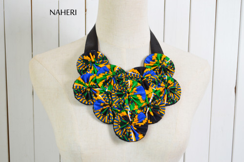 African print bib necklace with earrings kente fabric jewelry