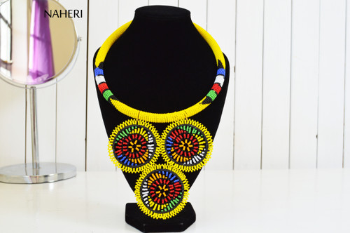 African inspired yellow tribal necklace