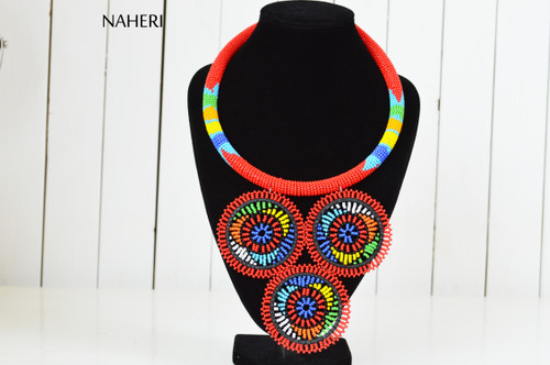 African inspired red tribal zulu handmade necklace