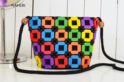African inspired trendy beaded cross body bag