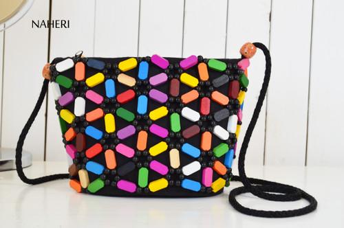 African beaded cross body bag handmade sling purse