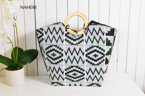 African print wooden handles handbag kente
