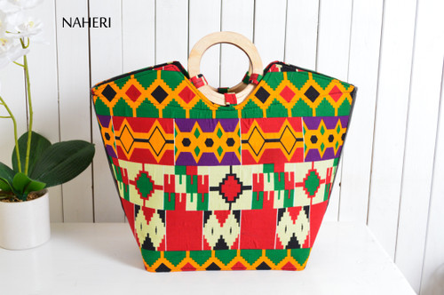 African print fabric wooden handles handbag kente
