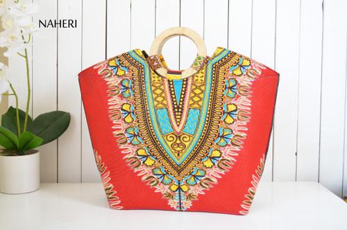 African print dashiki handbag red