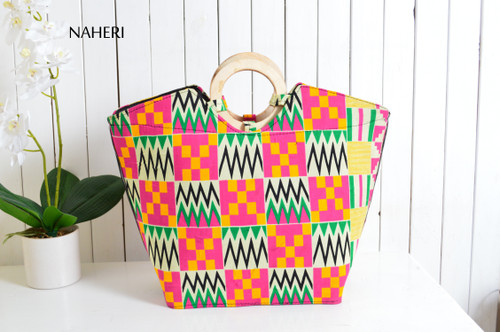 African print fabric handbag kente wooden handles