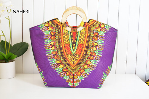 African print dashiki handbag purple