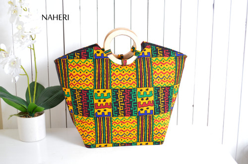 African tribal print handbag fabric wooden handles