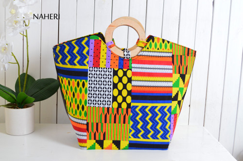 African tribal patchwork print handbag