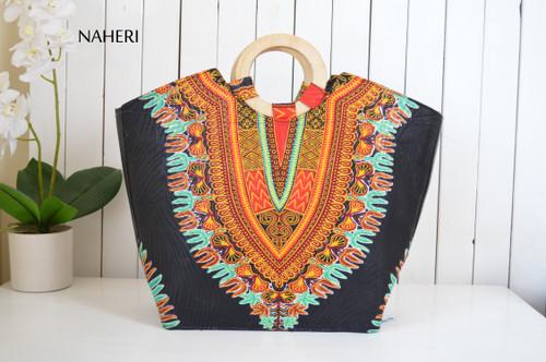 African print dashiki handbag black