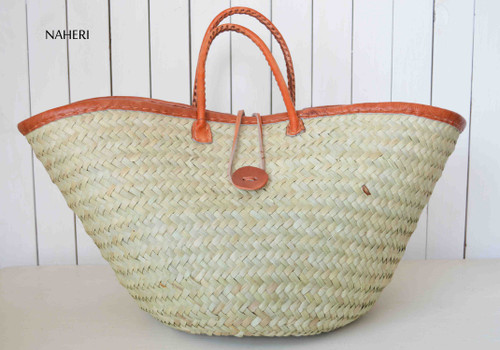 African natural basket with leather finishing