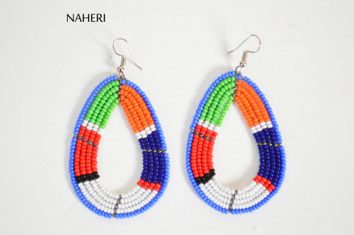 African beaded maasai hoop earrings naheri jewelry