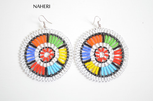 African white zulu beaded round earrings