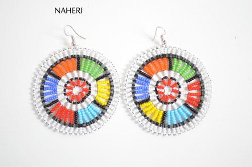 African white zulu beaded round earrings
