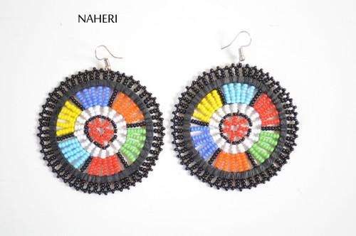 African black zulu beaded round earrings tribal jewelry naheri