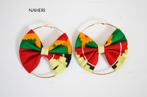 African kente print bow earrings handmade jewelry