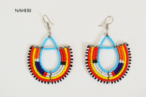 Beaded trendy maasai hoop earrings