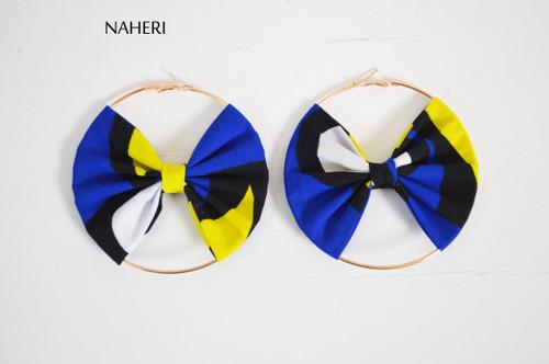 African print earrings bow tie handmade jewelry