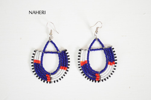 Beaded trendy maasai hoop earrings African