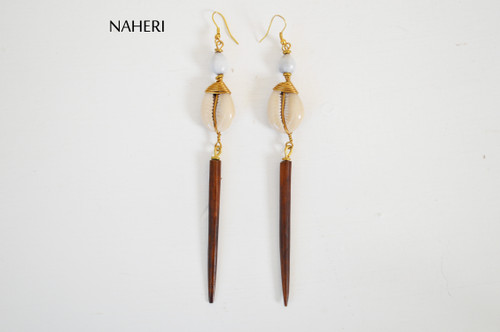 African bone and shell earrings naheri jewelry