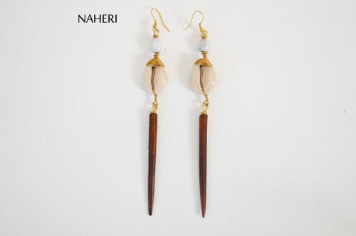 African bone and shell earrings naheri jewelry